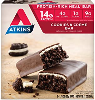 Atkins Protein-Rich Meal Bar, Cookies n' Crème, Keto Friendly, 5 Count