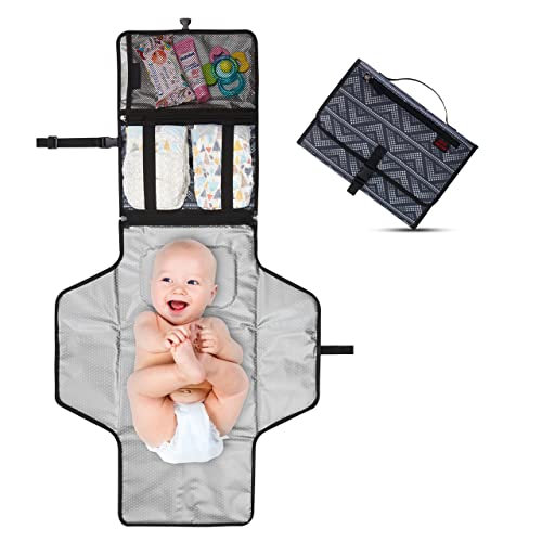Crystal Baby Smile Portable Changing Pad - Diaper Clutch - Lightweight Travel Station Kit for Baby