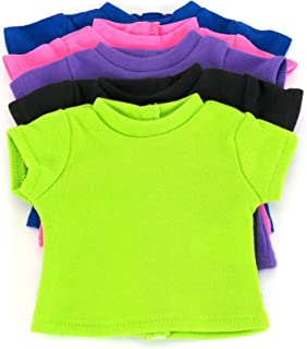 American Fashion World T-Shirts Set 5 Different Vibrant Colors Fits 18 inch Doll