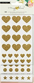 Crate Paper 107 Piece 3 Sheets Maggie Holmes Shine Glitter Basic Stickers, Gold