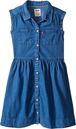 Rolled Sleeve Short Sleeve Woven Dress (Little Kids)