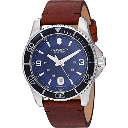 Victorinox Men's Stainless Steel Swiss Quartz Watch with Leather Strap, Brown, 21.5 (Model: 241863)