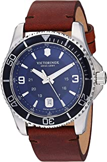 Men's Stainless Steel Swiss Quartz Sport Watch with Leather Strap, Brown, 21.5 (Model: 241863)