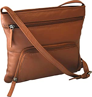 Pielino Women's Genuine Leather Multi Pockets RFID Protection Crossbody Bag (Camel)