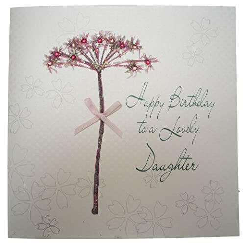 WHITE COTTON CARDS Handmade Happy Birthday Card To A Lovely Daughter Dandelion White