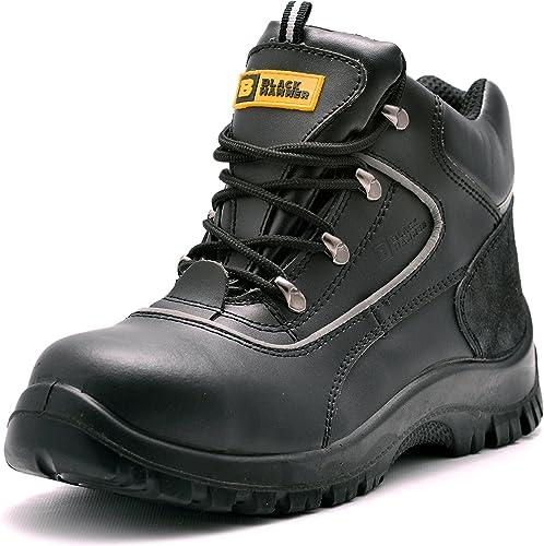 Para Hombre de Piel de botas de Seguridad para Hombre Puntera de Acero de Seguridad botas de Seguridad S3 Calzaño de Trabaño Tobillo Piel negro Martillo 7752