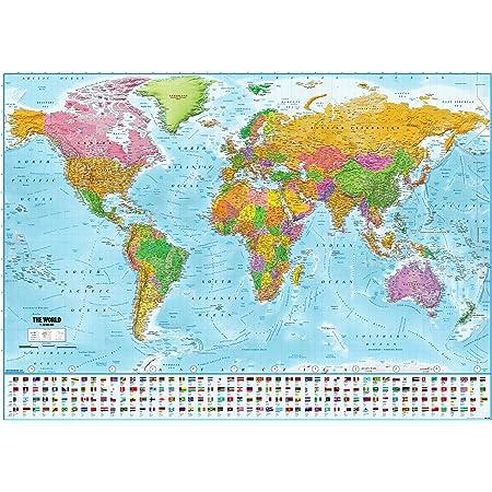 Mapamundi 1art1 32100 mapa político con banderas, póster