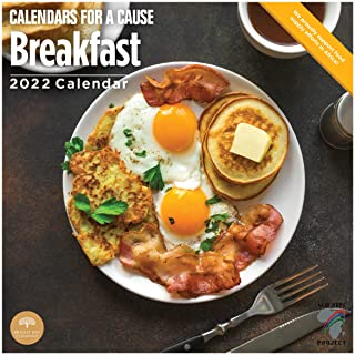 2022 Breakfast Wall Calendar by Bright Day, 12 x 12 Inch, Bacon Calendar for a Cause Collection