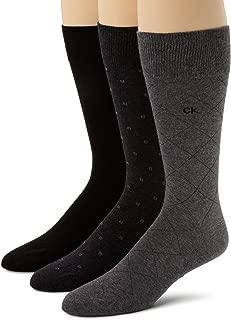 Calvin Klein Men's 3 Pack Fashion Geometric Casual Crew Socks