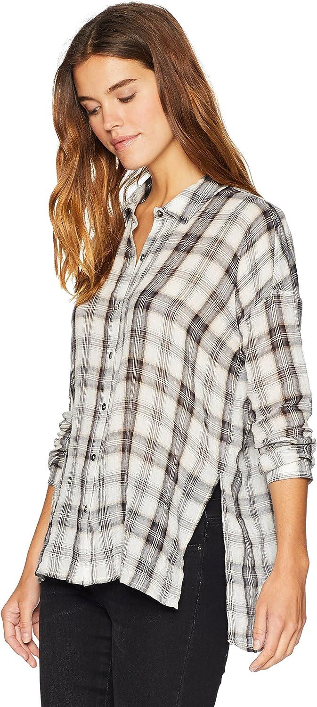 Splendid Womens Long Sleeve Plaid Button Up Button Down Shirt
