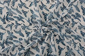 Indian Hand Block Print Cotton Voile Fabric by the Yard for Dressmaking, Crafting , Sewing, 3 Yard Handmade Kids Clothing Fabric Sanganeri Print Fabric for Upholestry (Pattern 1)