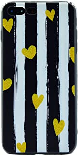 AlphaCell, Designer iPhone 7 Plus / 8 Plus Case   Sleek Pastel Matte Black & White Vertical Charlotte Striped (Artsy Lovely Cute Mini Yellow Hearts)   Slim & Protective TPU Silicone Cover   Snug Fit