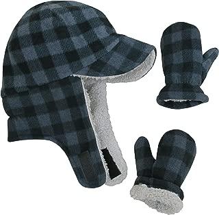 Little Boys and Baby Sherpa Lined Fleece Flap Hat Mitten Winter Set