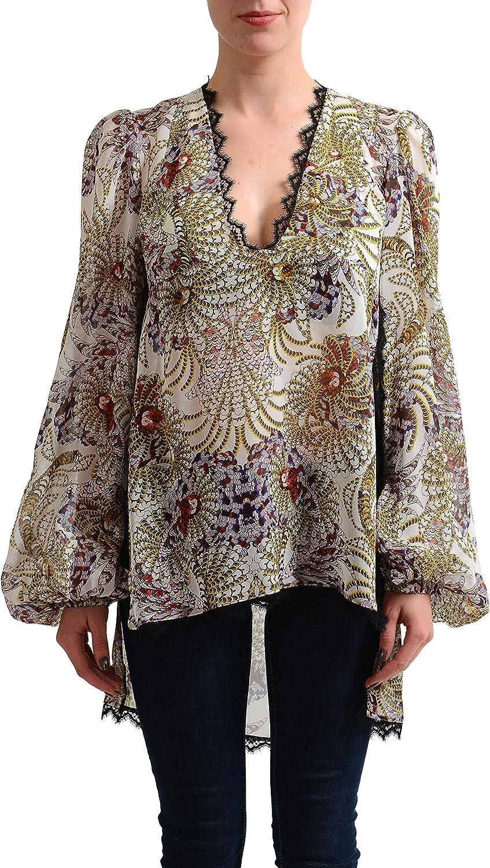 Just Cavalli Women's 100% Silk See Through Tunic Blouse Top US S IT 40