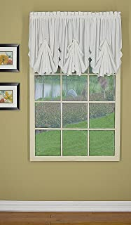 Today's Curtain Orleans Fan Insert Tambour Scallop Edge Curtain, White, 30
