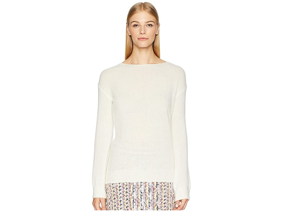 Image of Adam Lippes Brushed Cashmere Boat Neck Sweater w/ Tie Back (Ivory) Women's Sweater