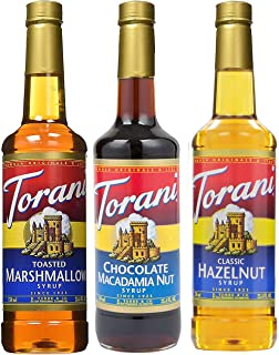 Torani Syrup 3 pack (25.4 Ounce Each) Toasted Marshmallow, Chocolate Macadamia Nut, Classic Hazelnut, Flavors for Coffee, Desserts and More