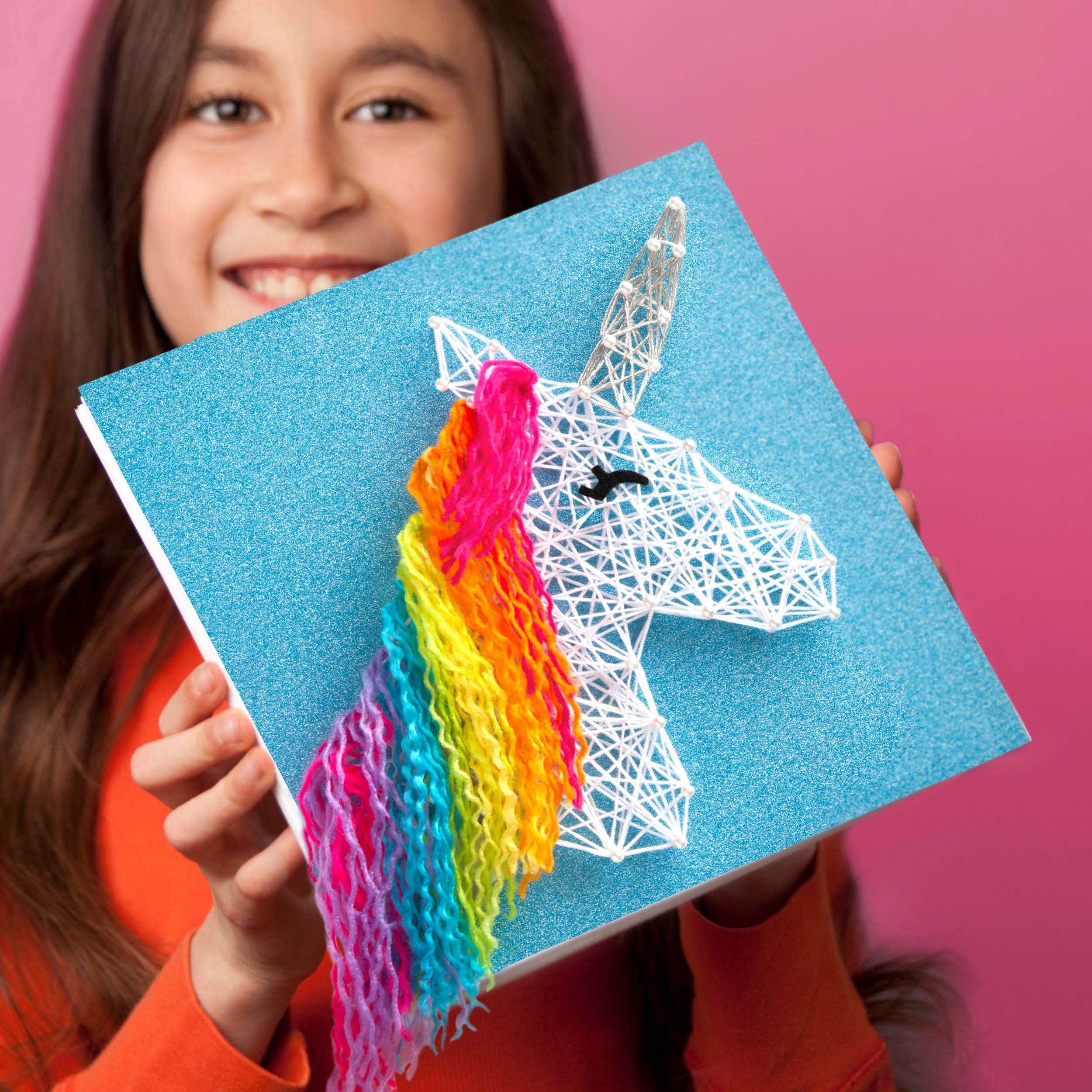 Amazon Com Craft Tastic String Art Kit Craft Kit Makes 2 Large String Art Canvases Unicorn Edition Toys Games