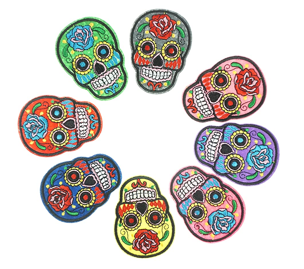 Bilipala Punk Patches, Iron on Punk Rock Patches, Skull Patches, 8 PCS, Assorted Color