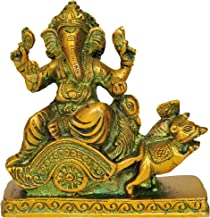 Lord Ganesha Riding on Mouse Chariot - Brass Statue