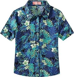 Big Girls' Jungle Prints Button Down Short Sleeve Aloha Hawaiian Shirt