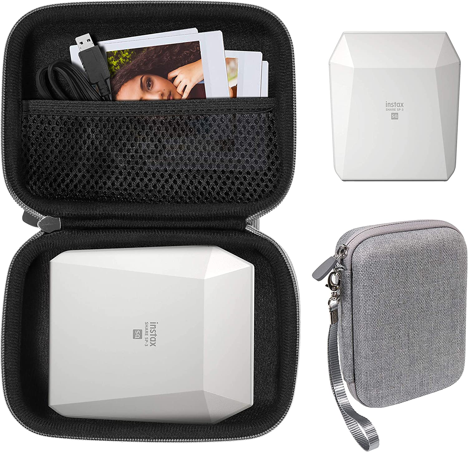 Protective Case for Fujifilm Instax SP-3 Mobile Printer by WGear, Mesh Pocket for Cable and Printing Paper (Tweed Gray)