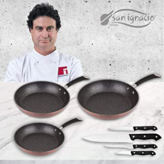 San Ignacio Premium Moma Set 3 sartenes + 4, Aluminio Forjado, 3 Piezas + Cuchillos