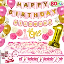 JOYIN 1st Girl Birthday Supplies Decoration Wild Set (Happy Banners, Hat, Foil Balloon Confetti Balloon, Cake Topper, Plates, Cups, Napkins, Tableware, Pom-poms Balls) for One Baby First Bday Party.