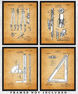 Vintage Architect Drafting Tools Wall Art - Set of Four (8x10) Patent Prints Unframed Make Great Room Wall Decor for Architects!