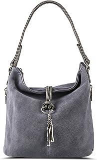f67713473a Nico Louise Women Purse Suede Split Real Leather Shoulder Bag Casual  Crossbody Hobo handbag