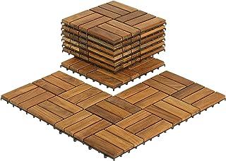 "Bare Decor BARE-WF2009 Solid Teak Wood Interlocking Flooring Tiles (Pack of 10), 12"".."