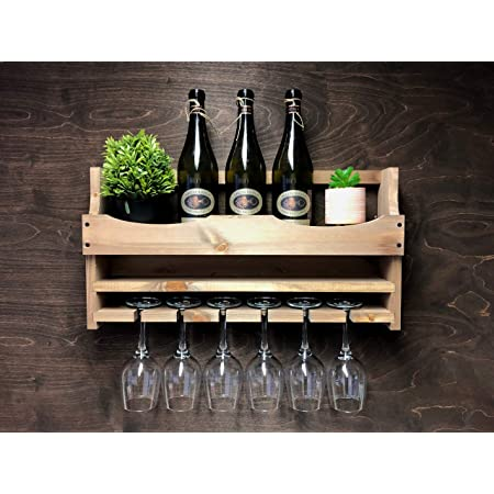 Laser Engraved Wooden Wine Bottle Holder and 6 Glass Wall Mounted Display 6-WR-WO ADD A Personalised Message OR Slogan!!