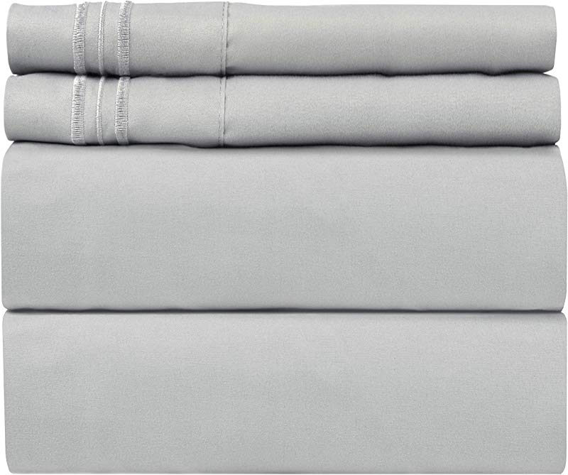 Queen Size Sheet Set 4 Piece Set Hotel Luxury Bed Sheets Extra Soft Deep Pockets Easy Fit Breathable Cooling Wrinkle Free Comfy Light Grey Bed Sheets Queens Sheets 4 PC