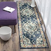 Safavieh Monaco Collection Vintage Bohemian Navy and Light Blue Distressed Runner (2'2