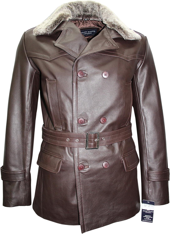 German Pea Coat Brown Furr Men's Classic Reefer Military Hide Leather Jacket
