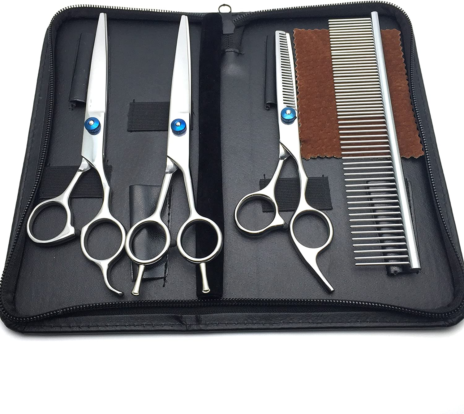 POPZone Professional 4 pieces Pet Hair Grooming Scissors Set  Thinning Shear & 7  inches Straight  Edge Shears & Curved Shears & Grooming Comb  Sharp and Strong Stainless Steel Blade