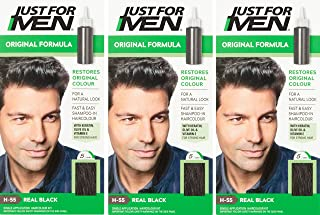 3 x Just For Men Hair Colour Original Formula - Real Black (H55)