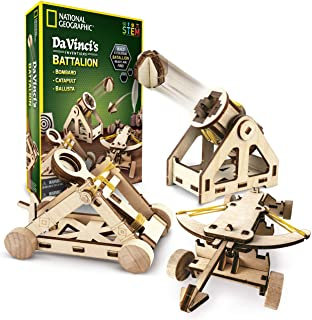 NATIONAL GEOGRAPHIC - Da Vinci's DIY Science and Engineering Construction Kit – Build Three Functioning Wooden Models: Cat...