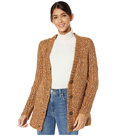 kensie Twisted Slub Boucle Button Front Cardigan KSNK5946 (Toffee Combo) Women