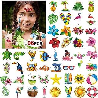 Konsait Summer Beach Pool Hawaiian Luau Themed Temporary Tattoos for Kids and Adults, 96 Assorted Tropical Tattoos, Tropic...