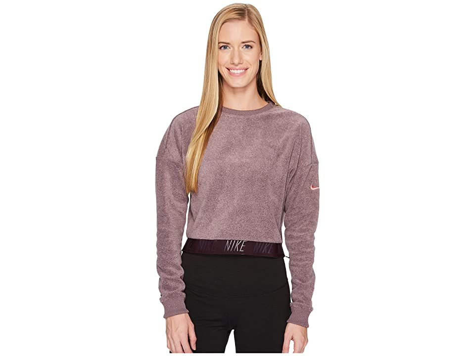Nike Cropped Training Top (Port Wine/Heather/Sunblush) Women