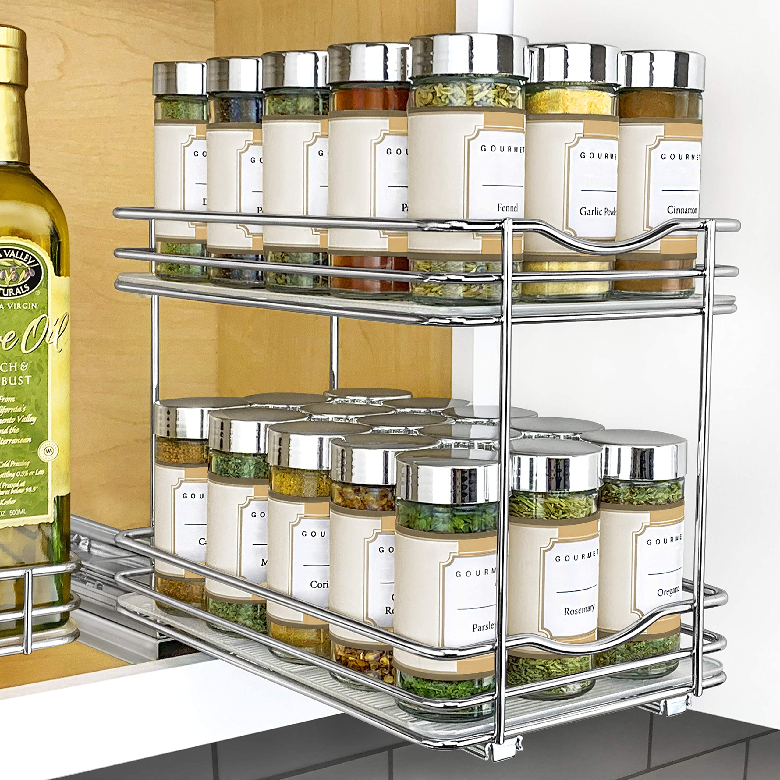 "Lynk Professional Slide Out Double Spice Rack Upper Cabinet Organizer, 6-1/4"", Chrome"