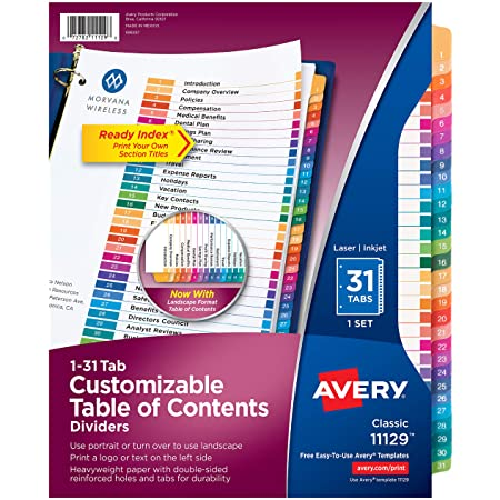 AVERY 31-Tab Dividers for a 3 Ring Binders, Customizable Table of Contents, Multicolor Tabs, 1 Set (11129)
