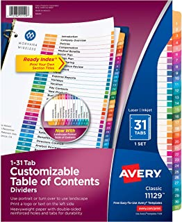 Avery Ready Index 31 Number Dividers, Customizable Table of Contents, Classic Multicolor Tabs, 1 Set (11129)