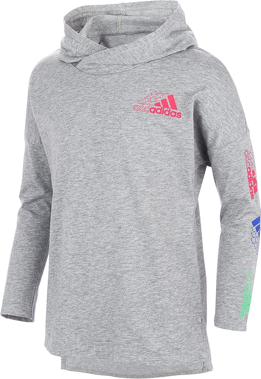 adidas Girls' Long Ultra-Cheap Deals Sleeve Graphic 4 years warranty Tee Heather Hooded