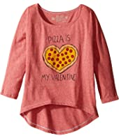 The Original Retro Brand Kids - Pizza Is My Valentine 3/4 Dolman Tee (Little Kids/Big Kids)