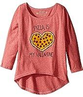 The Original Retro Brand Kids - Pizza Is My Valentine 3/4 Dolman Tee (Little Kids/Big Kids)
