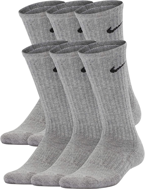 Nike Kids' Performance Cushioned Crew Training Socks (6 Pair) : Clothing