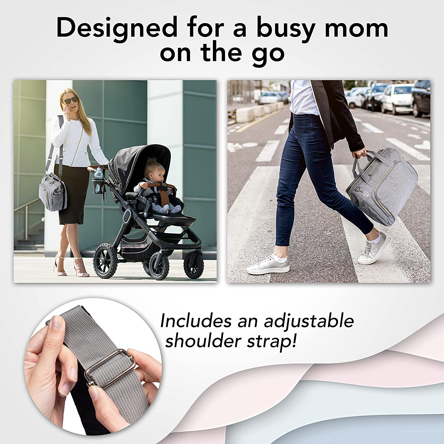 Baby Diaper Bag with Changing Station - Waterproof, Large Capacity - Tote Travel Baby Bag with Bassinet and Changing pad for Boys and Girls, USB Port, Grey - Smart Companion for Mom and Dad