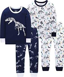 Pajamas for Boys and Girls Kids Dinosaur Sleepwear Baby Christmas Clothes Toddler Children 4 Pieces Pants Set